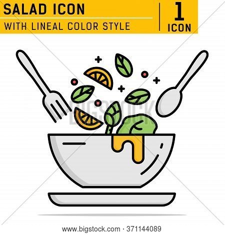 Salad Lineal Color Icon. Food Dish Recipe, Nutrition Concept, Salad Ingredients. With Filled Color S
