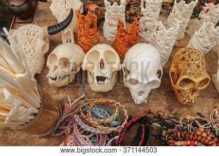 Ornaments Carved Into Animal Skulls. Handmade Balinese Carvers. Beef Bones, Monkey Skulls And Beef C