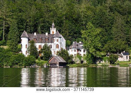 Schloss Grub Castle In Obertraun On The Shore Of Hallstatter See Or Lake Hallstatt, Austria