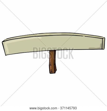 Empty Banner. Transparency Without Text. Banner On A Wooden Hilt. Vector Illustration. Simple Hand D