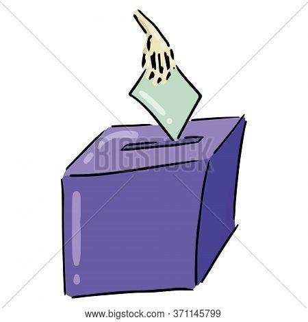Ballot Box. Vector Illustration Box For Vote. Ballot Box For Voting In Elections Hand Drawn. Hand Ho