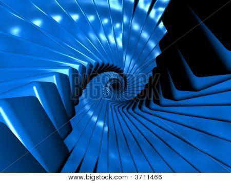 Fantasy Alien Blue Objects In Spiral Arrangement