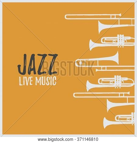Music Promotional Poster With Musical Instruments Vector Illustration. Artistic Background For Live