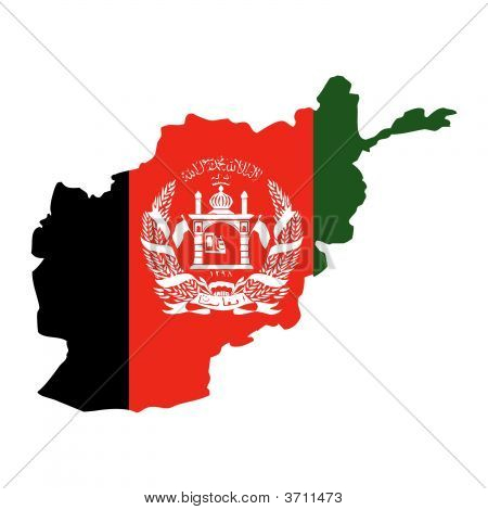 Afghanistan With Flag.Eps