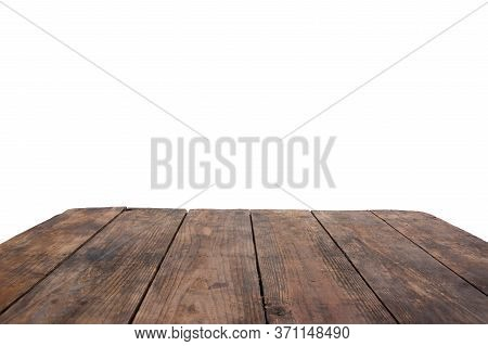 Old Wooden Table Isolated On White Background, Empty Wooden Table Top Isolated On White Background,