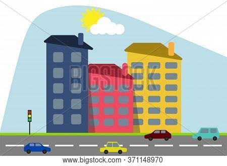 Cartoon Colored Houses With Shadows And Trees Against The Backdrop Of The Shining Sun With A Highway