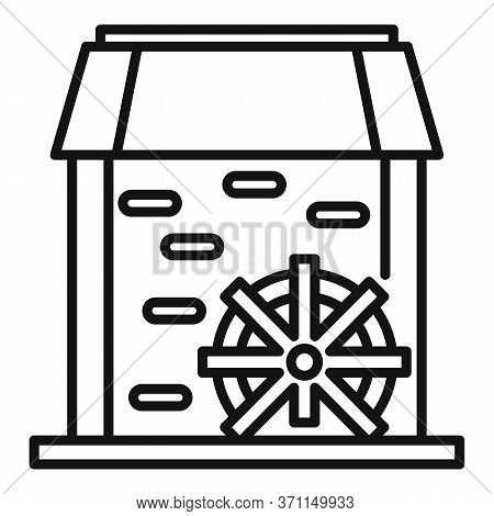 Water Mill Tower Icon. Outline Water Mill Tower Vector Icon For Web Design Isolated On White Backgro