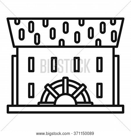 Wooden Water Mill Icon. Outline Wooden Water Mill Vector Icon For Web Design Isolated On White Backg