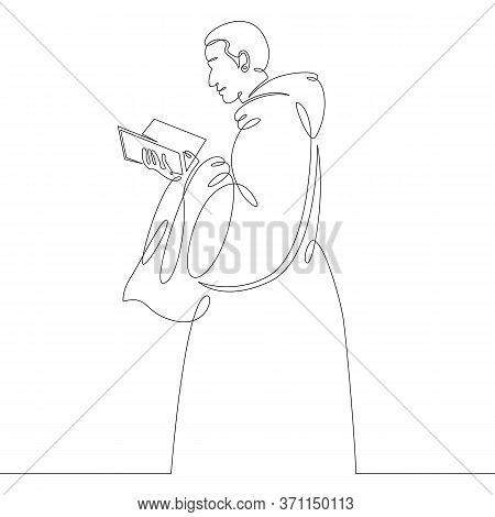 One Continuous Drawing Line Catholic Monk In Cassock Reads Bible .single Hand Drawn Art Line Doodle