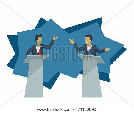 Debate Of Two Politicians - Two Male Persons With Violent Gesticulation Standing On Speaking Tribune