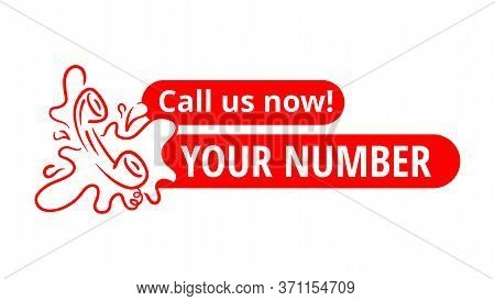 Call Us Now Button - Catchy Drawn Phone Headset With Place For Phone Number - Isolated Vector Websit