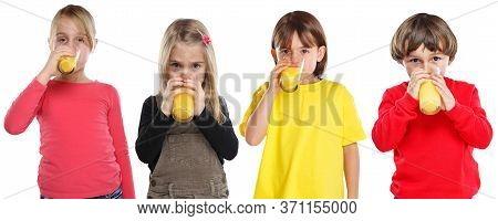 Group Of Children Girl Boy Kids Drinking Orange Juice Healthy Eating Isolated On White