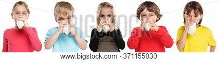 Group Of Children Little Girl Boy Child Drinking Milk Kid Healthy Eating Isolated On White