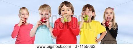 Healthy Eating Group Of Kids Children Apple Fruit Copyspace Banner