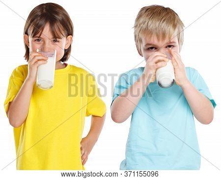 Children Girl Boy Drinking Milk Kids Glass Healthy Eating Isolated On White