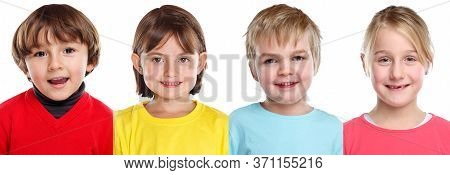 Children Kids Little Girl Boy Portraits Faces In A Row Isolated On White