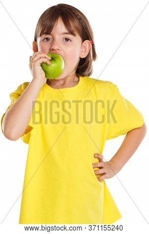 Girl Child Kid Eating Apple Fruit Autumn Fall Healthy Isolated On White