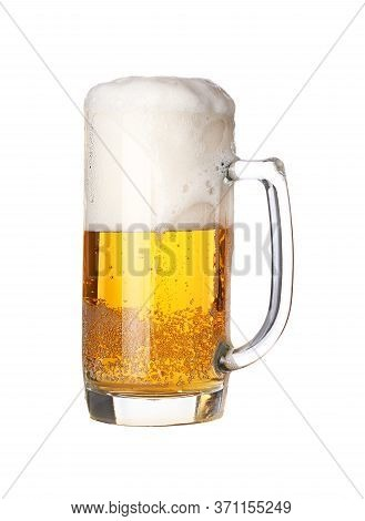 Close Up One Full Glass Mug Of Lager Beer With Froth And Bubbles Isolated On White Background, Low A