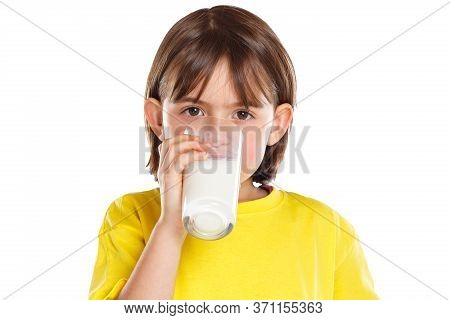 Child Girl Drinking Milk Kid Glass Healthy Eating Isolated On White