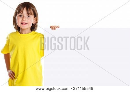 Marketing Ad Advert Child Kid Young Little Girl Copyspace Empty Blank Sign Isolated