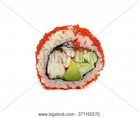 Close Up One Boston Or California Sushi Roll With Red Tobiko Caviar Isolated On White Background, Lo