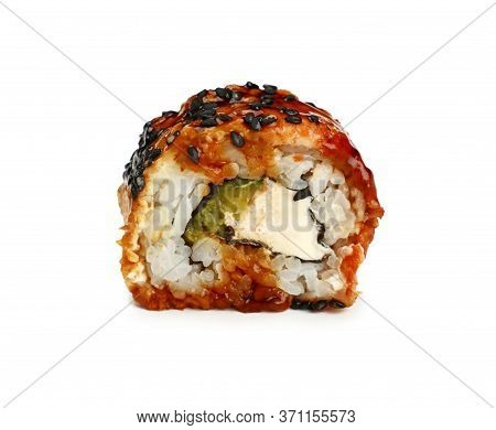 Close Up One Unagi Sushi Roll With Eel Isolated On White Background, Low Angle Side View