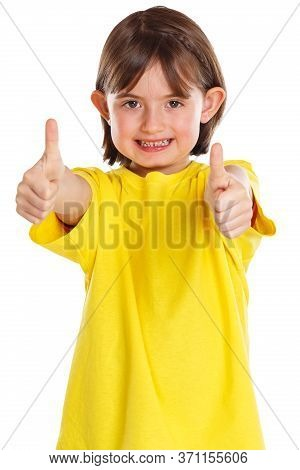 Girl Child Kid Smiling Young Success Thumbs Up Isolated On White