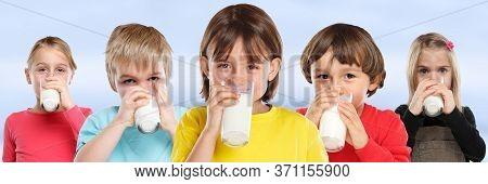 Group Of Children Girl Boy Drinking Milk Kids Glass Healthy Eating Banner