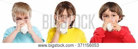 Children Kids Girl Boy Drinking Milk Healthy Eating Colorful Isolated On White