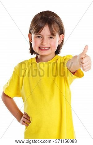 Child Kid Girl Young Success Good Positive Thumbs Up Isolated On White