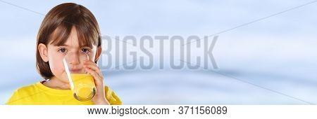 Child Kid Girl Drinking Orange Juice Healthy Eating Copyspace Copy Space Banner