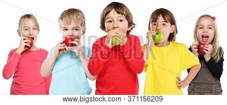 Healthy Eating Group Of Kids Children Apple Fruit Isolated On White