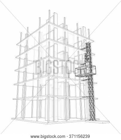Building Under Construction With A Mast Lifts Outline. Vector Rendering Of 3d. Wire-frame Style. The