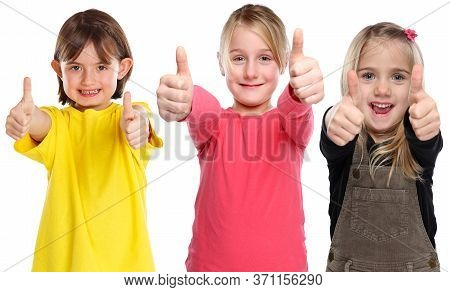 Group Of Children Kids Smiling Young Little Girls Success Winning Thumbs Up Positive Isolated On Whi