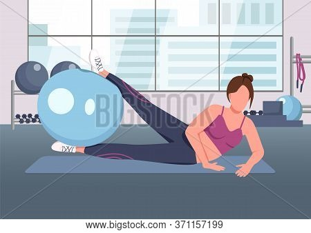 Pilates Flat Color Vector Illustration. Fitness Instructor, Sportswoman Working Out With Swiss Ball