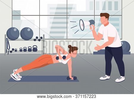 Fitness Instructor Service Flat Color Vector Illustration. Woman Working Out With Coach 2d Cartoon C