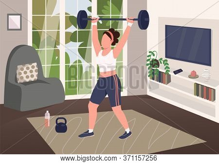 Weightlifting At Home Flat Color Vector Illustration. Strong Woman, Amateur Powerlifter Working Out