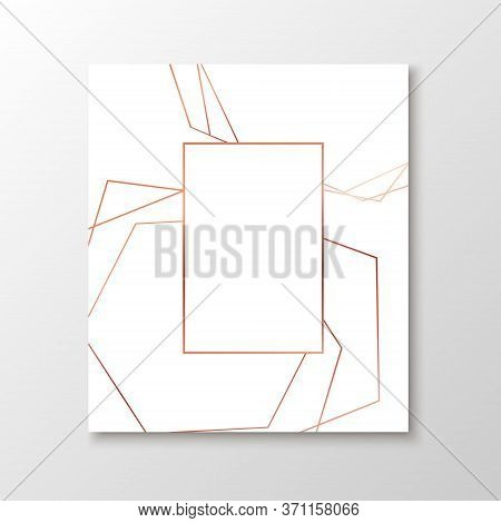 Wedding Invitation Cards With Rose Gold Geometric Polygonal Design Elements. Vector Luxury Invite