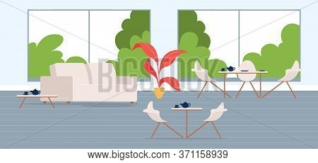 City Cafe Flat Color Vector Illustration. Contemporary Coffeehouse. Modern Furnished Restaurant. Cof