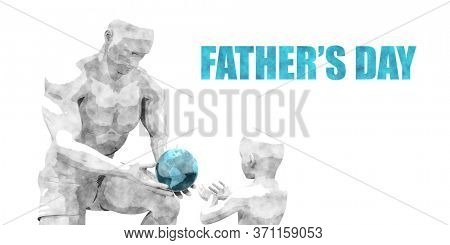 Father's Day as a Happy Celebration Card Design 3d Render