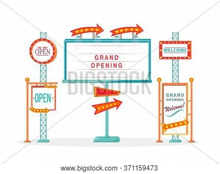 Grand Opening Vintage Vector Ads Board Sign Illustrations Set. Commercial Billboard Mockup Designs P