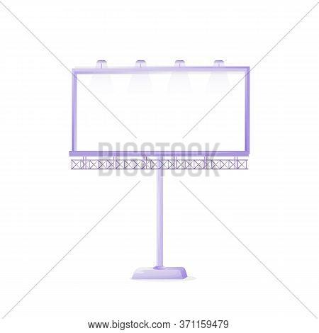 Large Vector Advert Board Sign Illustration. Big Empty Street Stand. Commercial Billboard Mockup Des
