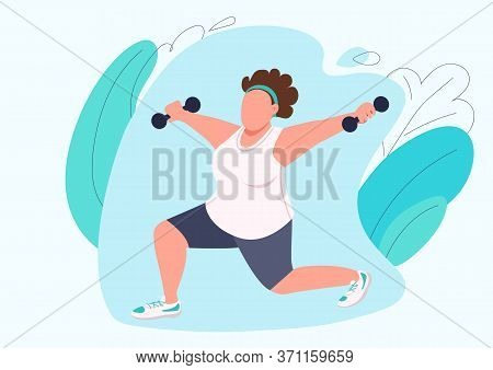 Lady Doing Pilates Flat Color Vector Faceless Character. Woman Sportswear Working Out With Dumbbells