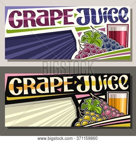 Vector Banners For Grape Juice With Copy Space, Horizontal Layouts With Illustration Of Vegan Drink