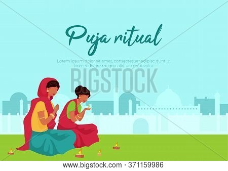 Puja Ritual Poster Flat Vector Template. Two Indian Woman Light Candle. Pray During Ritual. Brochure