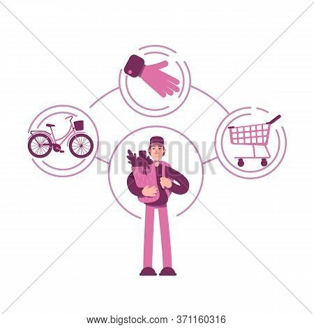 Everyman Archetype Flat Concept Vector Illustration. Young Man With Shopping Bag 2d Cartoon Characte