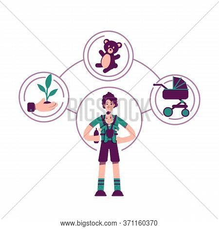 Caregiver Archetype Flat Concept Vector Illustration. Male Babysitter 2d Cartoon Character For Web D
