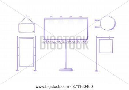 Public Vector Ads Board Sign Illustrations Set. Metal Lightbox. Commercial Big Billboard Mockup Desi