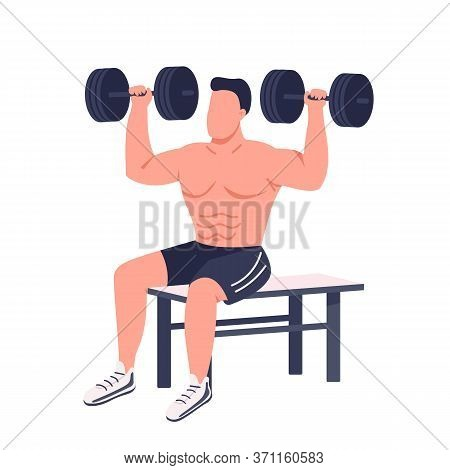 Bodybuilder Lifting Dumbbells Flat Color Vector Faceless Character. Muscular Sportsman Working Out I