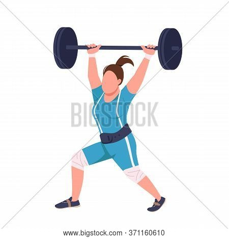 Female Powerlifter Lifting Barbell Flat Color Vector Faceless Character. Sportswoman Workout Isolate